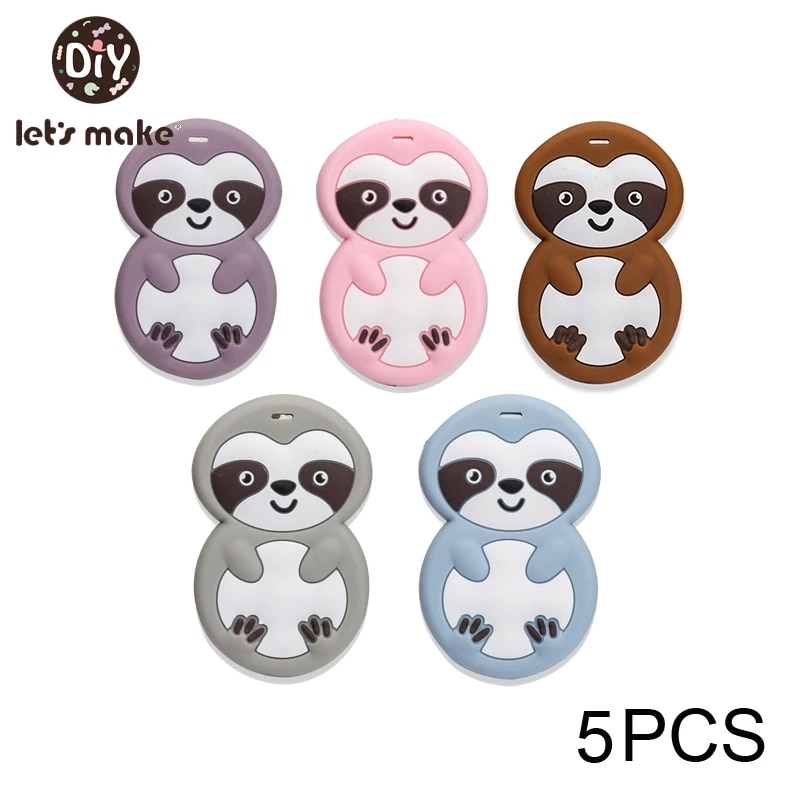 Let's make 5pcs Baby Teethers Carttoon Sloth Cute Animal Shape Teethers DIY Pacifier Chain Accessories Jewelry Baby Teething