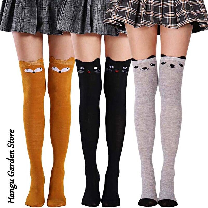 Женские чулки с кошачьим рисунком, теплые чулки до бедра, Гольфы выше колена, длинные хлопковые чулки, сексуальные чулки, носки