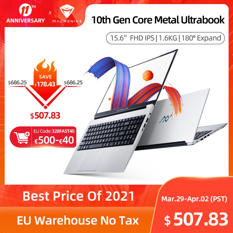 Machcreator-A Laptop Metal Ultrabook intel core i3-10110U 8G 256G SSD 15.6'' FHD IPS 2.4G+5G WiFi Portable Student Laptop Office