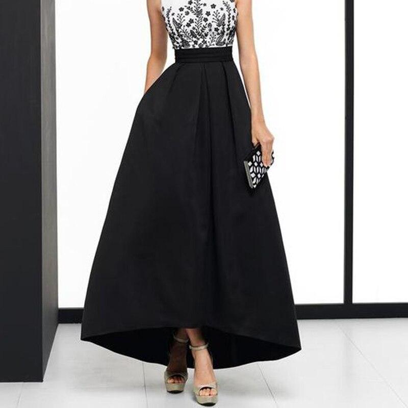 Элегантная черная высокая низкая юбка макси для женщин с высокой талией а линия атласные вечерние платья выпускного вечера с карманами модная длинная юбка Faldas Saia