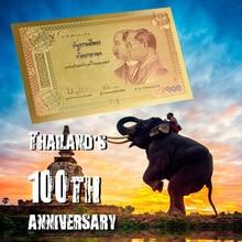 Таиланд с покрытыем цвета чистого 24 каратного золота Фольга банкнота тайский бат поддельные банкнота сбор денежных средств рекламные Бизнес подарок для Него дропшиппинг