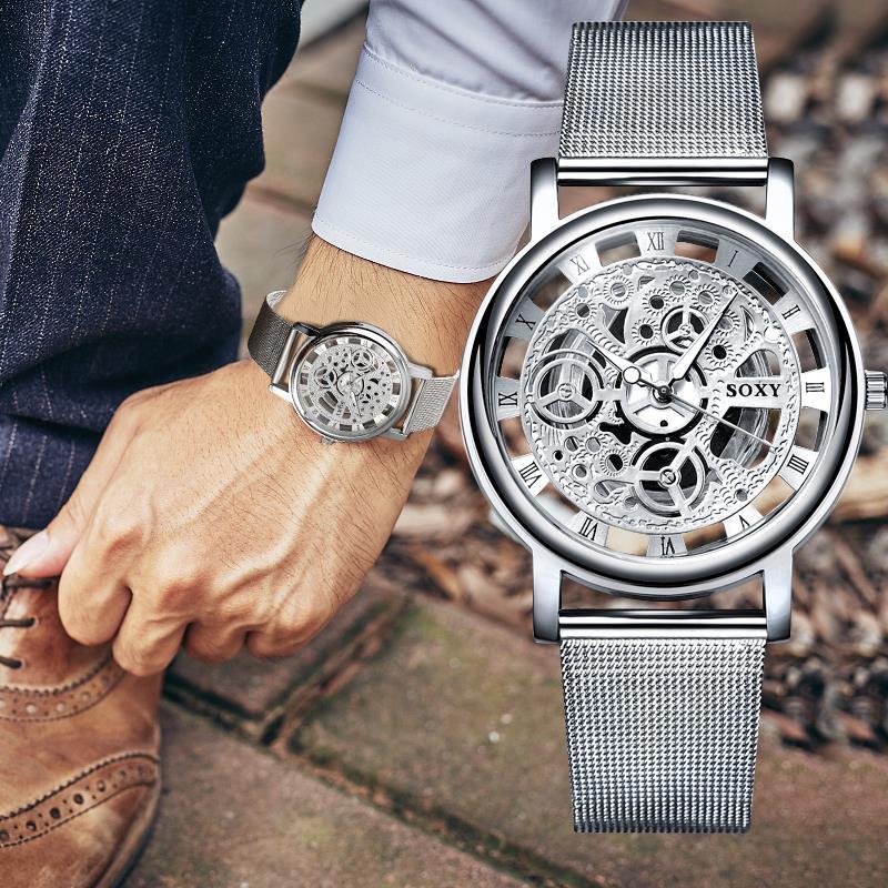 2019 Fashion Skeleton Wristwatch Men Mesh Belt Men Women Unisex Skeleton Watch Quartz Watches Hollow
