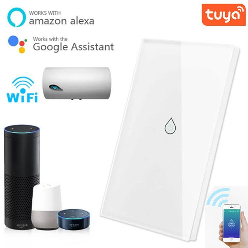 Tuya-مفتاح ذكي لسخان المياه ، مؤقت ، wi-fi ، مع جهاز تحكم عن بعد صوتي ، يعمل مع Google Home Alexa Echo