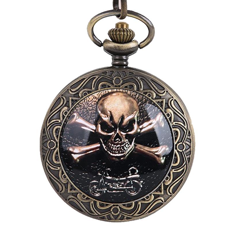 Relógio de bolso de pulso nova moda bronze punk bolso relógios antigo ocidental pirata crânio design em relevo caso relógio roman dial