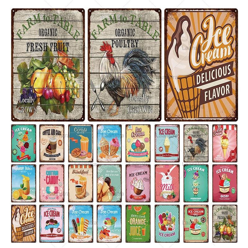 Cartel Vintage hoja de hierro bebidas de verano y helado Metal estaño signo Placa de pared Retro Decoración Para Playa Club Pub casa Hotel temático