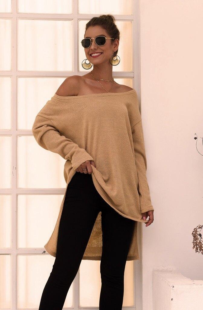 Jerséis de punto para mujer blusas de mujer 2019 Otoño e Invierno de manga larga con hombros descubiertos Irregular tejido de mujer ropa