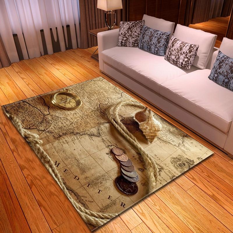 Franela suave patrón de mapamperios para sala de estar, dormitorio, decoración, Alfombra de cocina antideslizante, alfombra con estampado 3D para el hogar