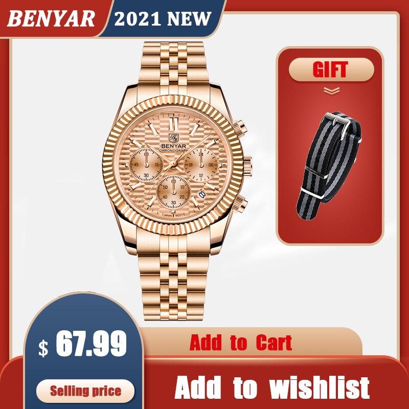 BENYAR 201 New Men Quartz Wristwatches Luxury Sapphire Glass Chronograph 100M Waterproof Stainless Watches Men Relogio Masculino