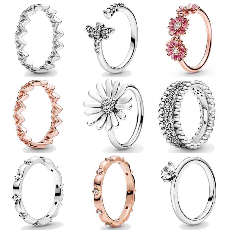 Pavé Margarita flor Trio libélula mano libre corazones con cuentas anillo de cristal 925 plata esterlina anillo para las mujeres Pandora joyería