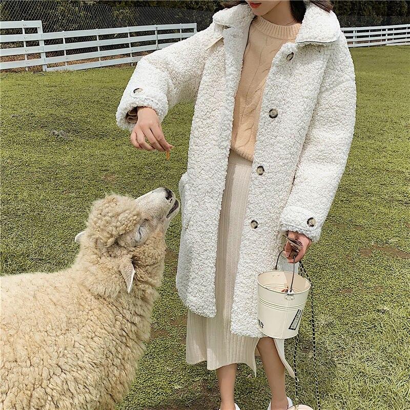 Fashion Women Faux Fur Coat Winter Warm Teddy Coat Fashion Long Parka Lamb Fur Jacket Ladies Outwear Plush Thick Coat