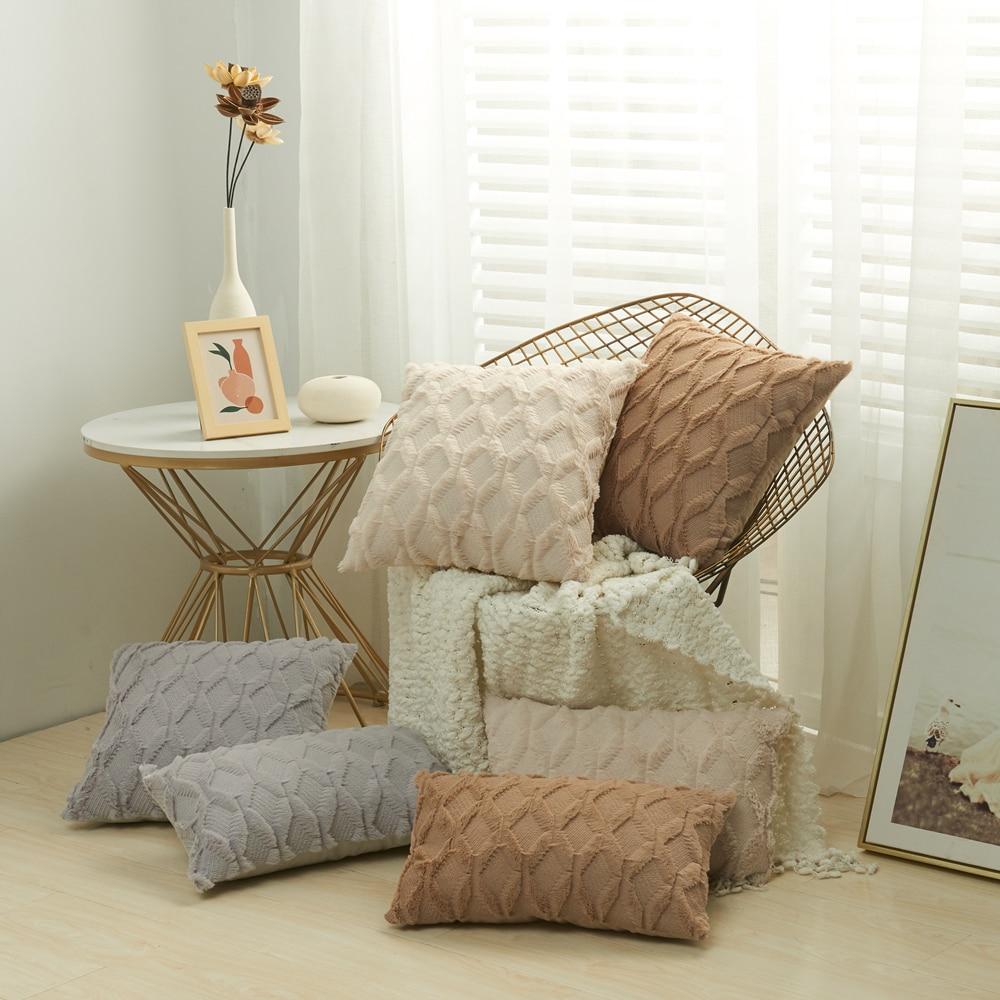 3D Rhombus Plush Pillow Cover Geometric Decorative Throw Pillow Case Spring New Bed Sofa Cushion Cov
