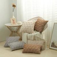 3d rhombus plush pillow cover geometric decorative throw pillow case soft cozy bed sofa cushion cover faux fur nordic home decor