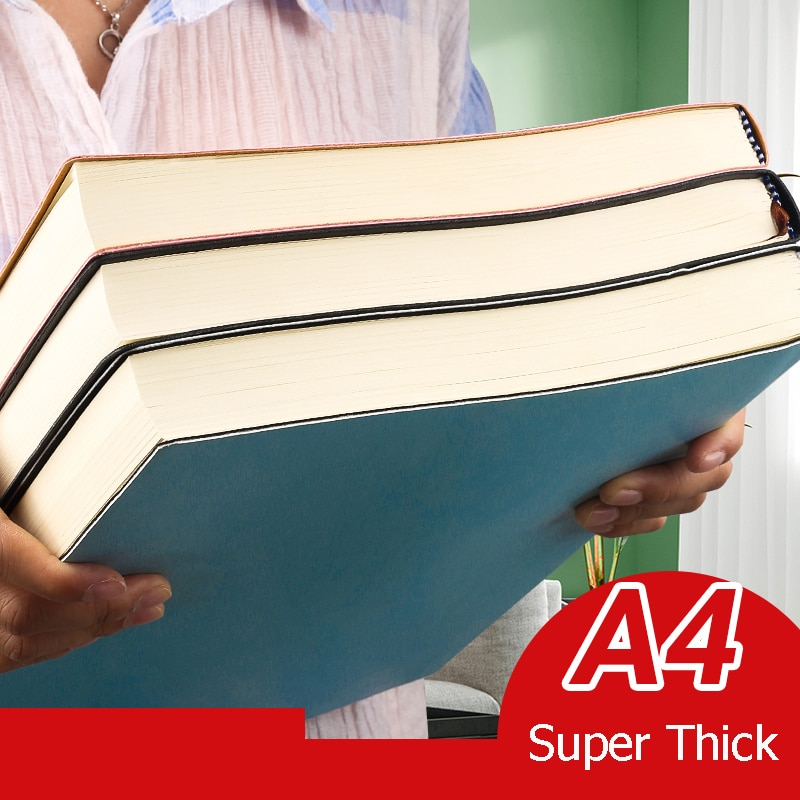 A4 Super Thick Notepad Students Cute Notebook Retro Colors Creativity Stationery 416 pages Pu cover School Supplies
