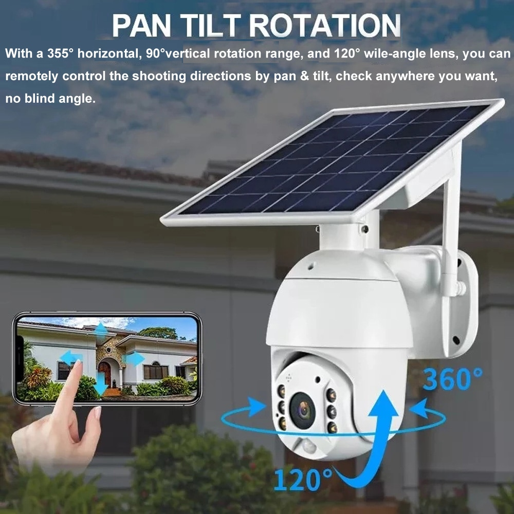 1080P Wireless 4G WiFi Solar Camera Outdoor Security Surveillance CCTV Video Monitor Smart Home Motion Detection Waterproof Cam
