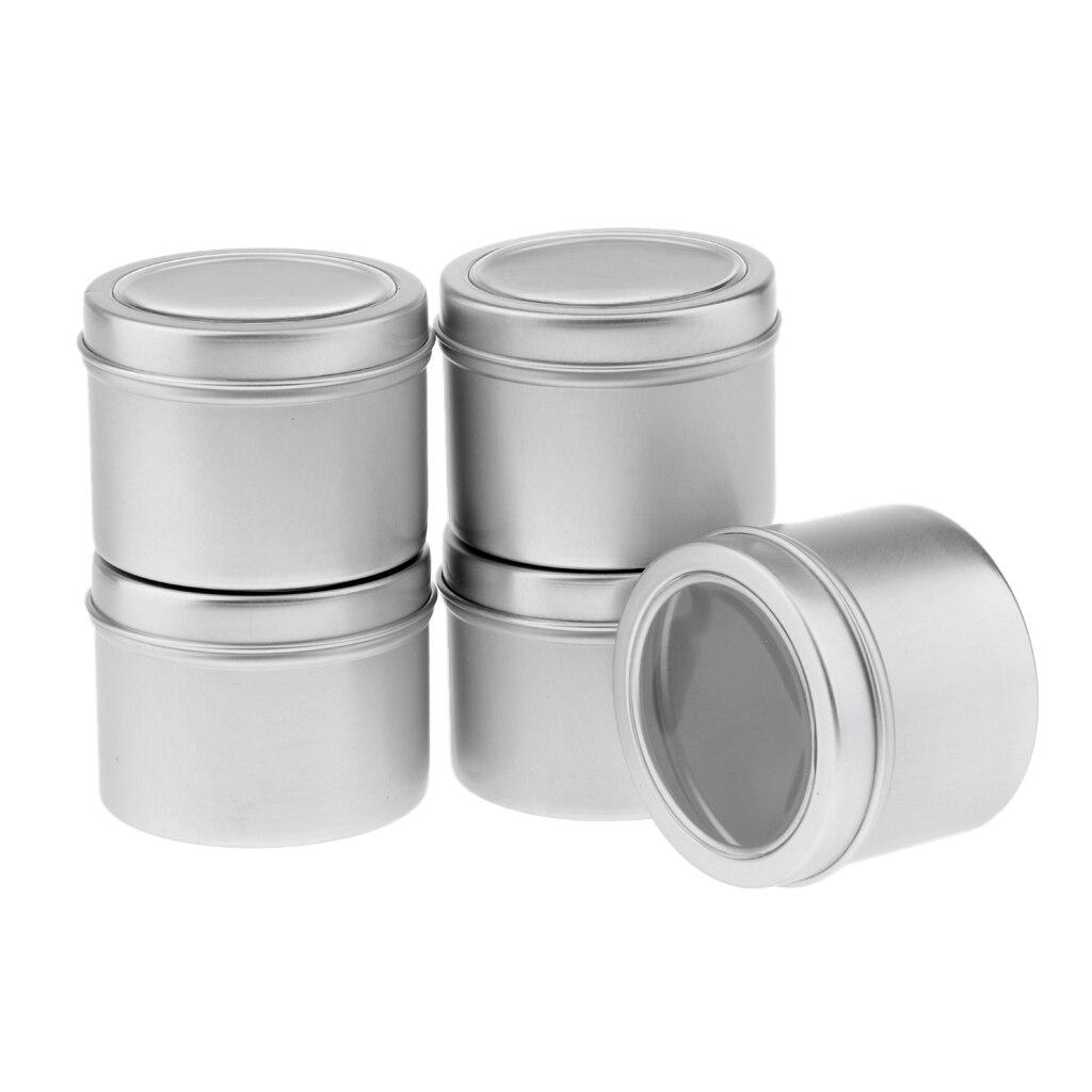 5x60 ml redondo aluminio crema vacío bálsamo labial velas tarros contenedores tapa de lata apto para viajes-tamaño cosméticos/bálsamos