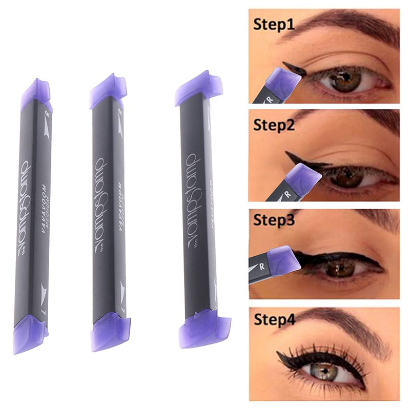 3 Size Stamps Eyeliner Tool Beauty Makeup Brush New Wing Style Kitten Large Easy To Cat Eye Women Co