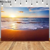 sunset beach photography backdrops pink clouds golden beach photo props studio booth background cake smash photoshoot