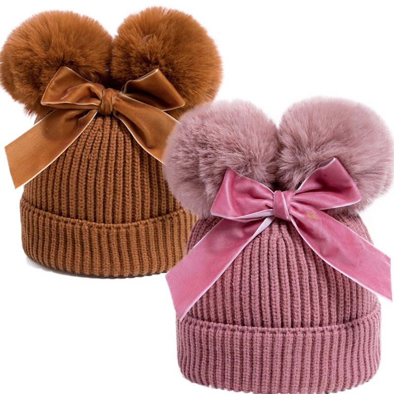 2020 теплая Толстая детская Младенческая шапочка с помпоном, шапка с двойным помпоном, зимняя вязаная детская шапка, шляпа-шлем