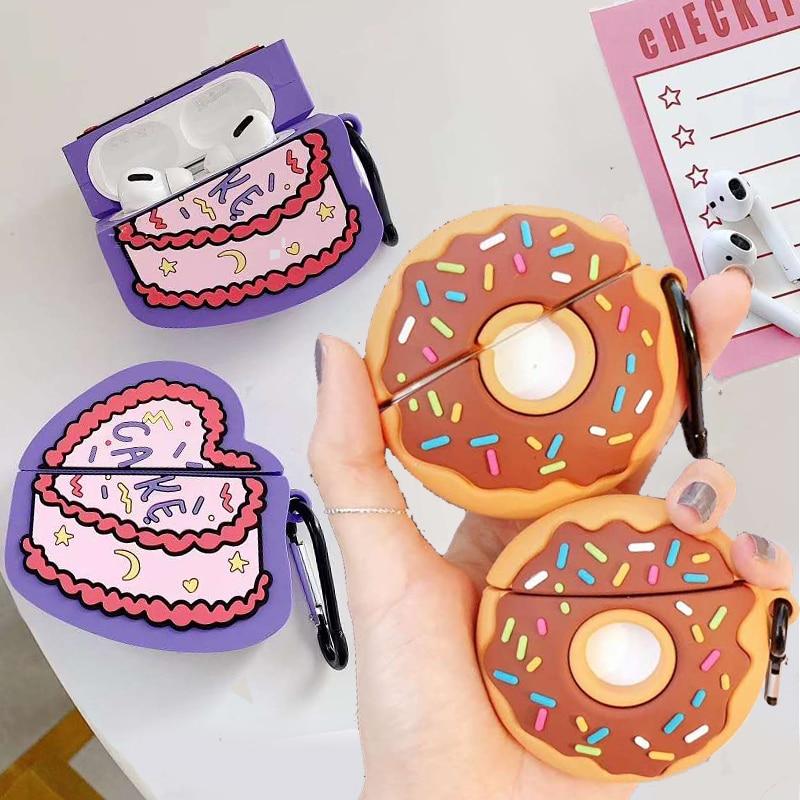 Para Apple Airpods Pro Cartoon 3D recorte Donuts sudor corazón pastel inalámbrico auricular Protector cubierta para AirPods 1 2 3