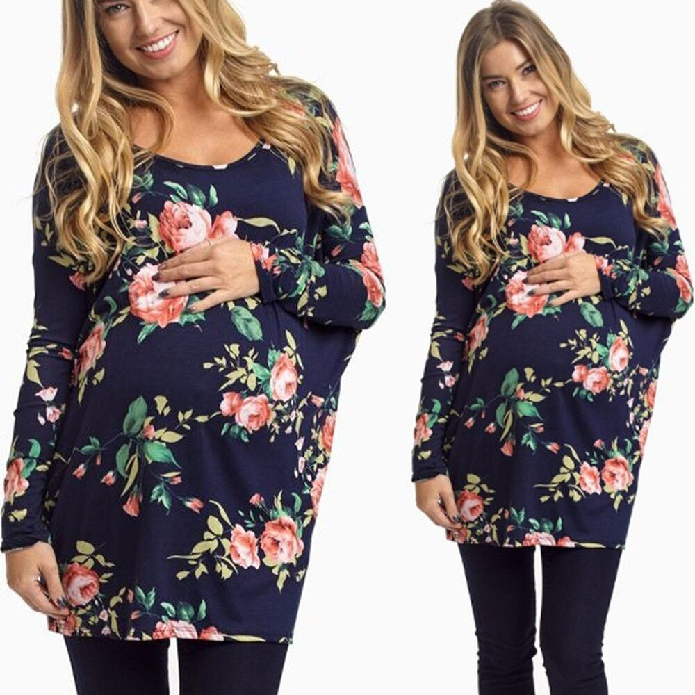 Tops casuales de maternidad para mujer de manga larga con estampado Floral con cuello en V camiseta Zwangerschaps Tops de moda para mujeres embarazadas S-XL