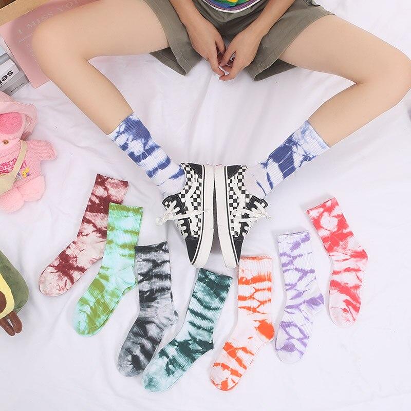Outono e inverno moda tie-dye meias estilo coreano harajuku hip-hop skate meias unisex presente do feriado feliz algodão meias