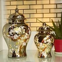 jingdezhen antique porcelain plum blossom temple jar gold silver vase ceramic jars