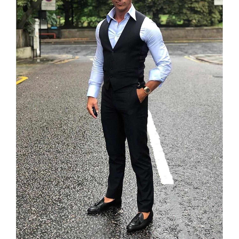 Мужской классический жилет, черный деловой жилет, винтажный Повседневный жилет для шафера, в стиле стимпанк, для свадьбы, мужской жилет
