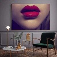 Figure peinture a lhuile visage gros plan levres rouges art toile dessin salon couloir bureau decoration murale