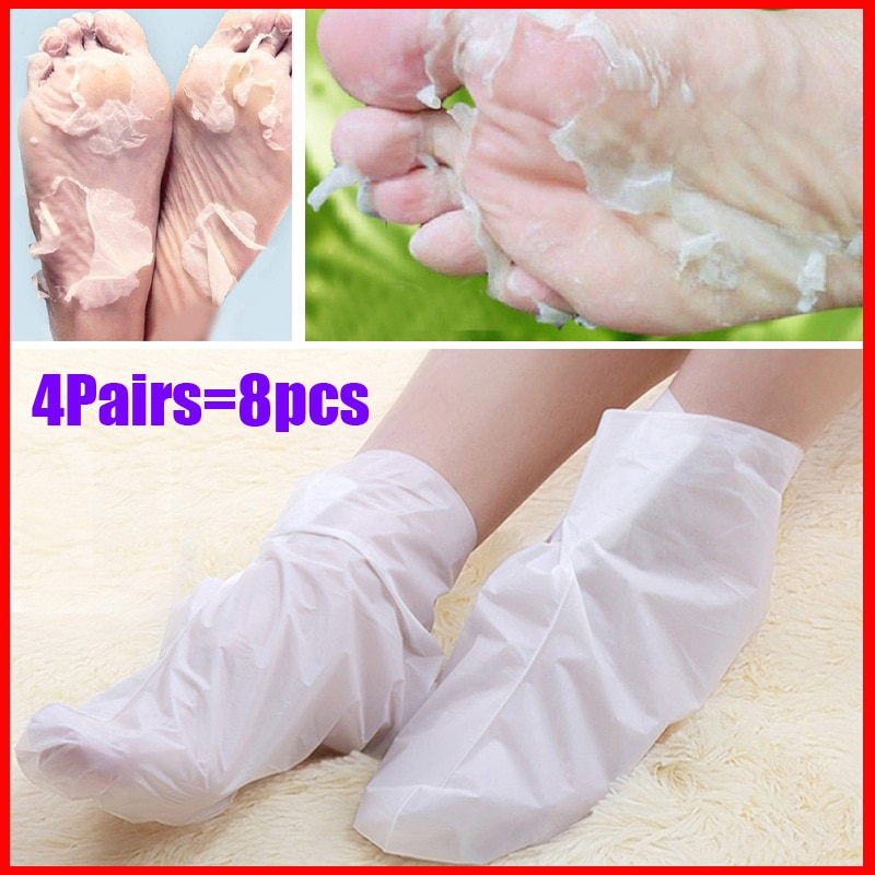 4 pairs Exfoliating Foot Mask Sock Pedicure Socks Exfoliation for Feet Mask Heels Foot Peeling Remove Dead Skin Mask for Legs 4 pairs exfoliating foot mask sock pedicure socks exfoliation for feet mask heels foot peeling remove dead skin mask for legs