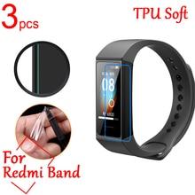 3pcs/lot Ultra Clear TPU Soft LCD Full Cover Screen Protectors Guard for Xiaomi Redmi Band Intellige