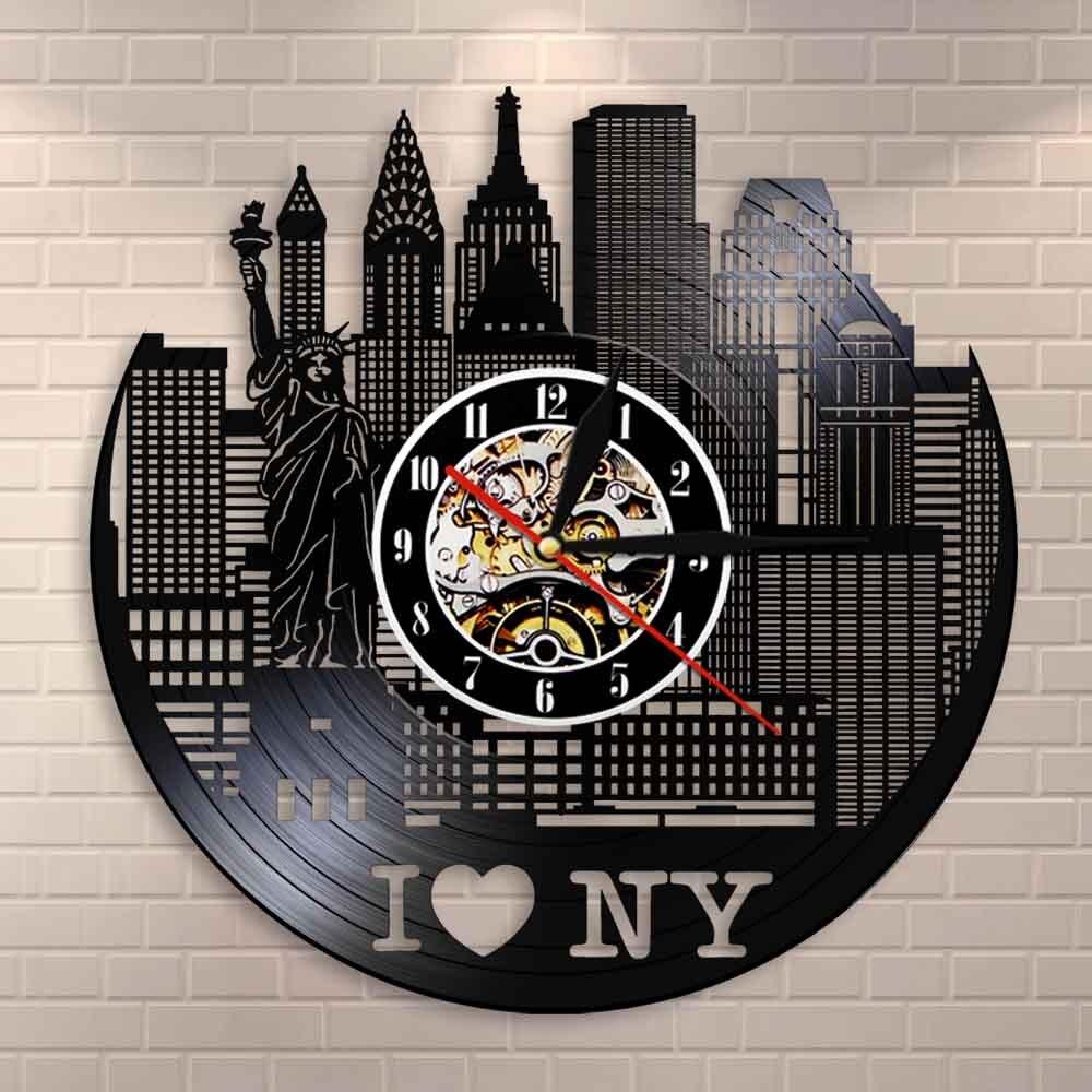 Nova iorque paisagem urbana moderno relógio de parede silencioso decoração da parede nyc skyline vinil registro relógio de parede relógios único viagem presentes