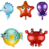 cartoon fish foil balloons birthday party decorations kids octopus clown seahorse crab pufferfish starfish theme party decorat