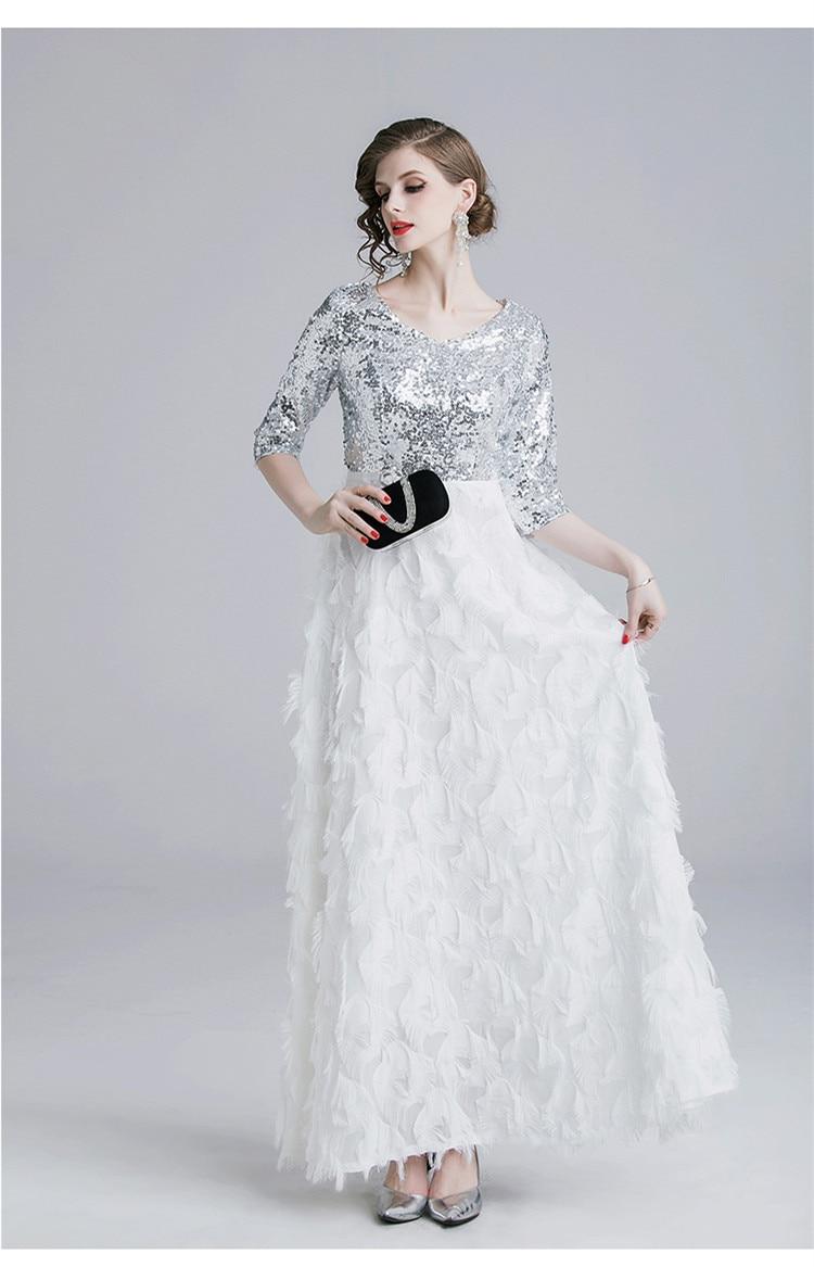 ZUOMAN Women Elegant Sequin Dress Festa Female High Quality White Wedding Party Robe Femme Designer Long Maxi Mesh Vestidos