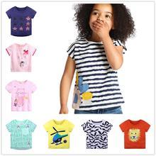 T-shirt dété pour bébés filles   Haut 100% coton pour tout-petits, t-shirts pour enfants, vêtements filles, chemisier tee-shirt Floral pour bébés