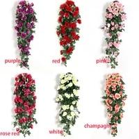 Vigne de fleurs artificielles en rotin  decoration murale  Roses suspendues  accessoires de decoration pour la maison  porte de mariage  fausse fleur de noel