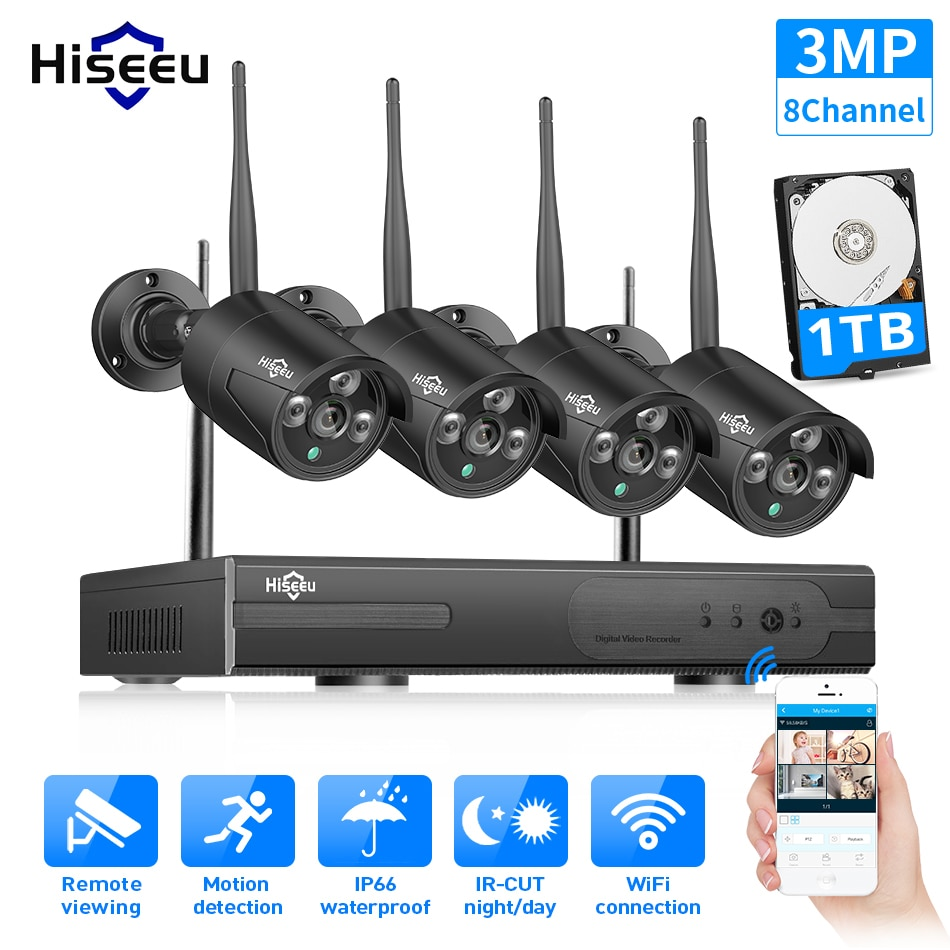 Hiseeu-نظام مراقبة بالفيديو NVR 3MP HD 8CH لاسلكي ، CCTV ، مجموعة كاميرا Wifi 1536P ، أسود