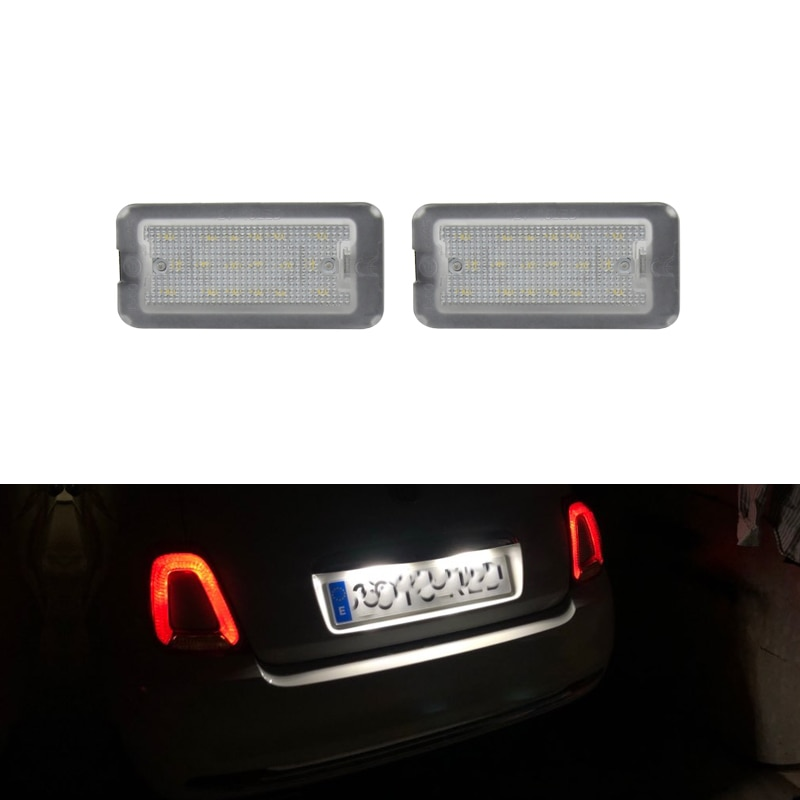 12V 18SMD 2PCs CANbus Xenon White Led Number License Plate Light Lamp For Fiat 500 / Abarth 500 2007-2016