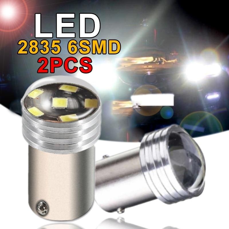 2 bombillas LED 1156 R5W para proyector blanco 2835 SMD 6 luces Led de alta potencia para intermitente trasero accesorios de luz led