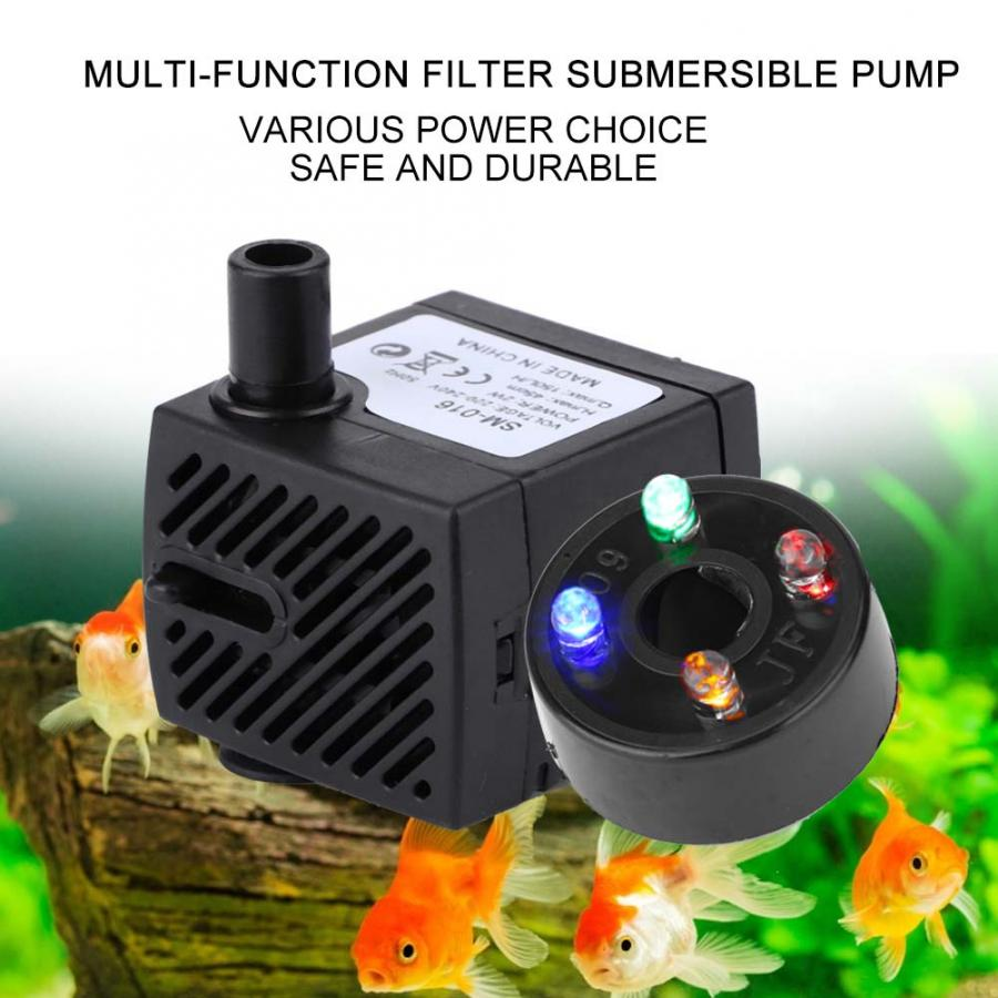 Water Pump Submersible With 4 LED Light For Aquarium Rockery Fountain Fish  Oxygen Pump Aquarium Lantern Decoration