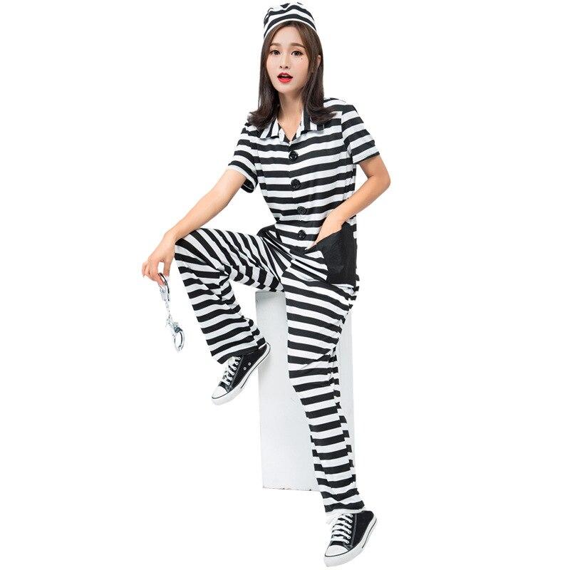 Halloween Carnaval Stage Performance Teatral a Atividade Da Família Definir Adulto mulher prisioneiro convict traje Cosplay