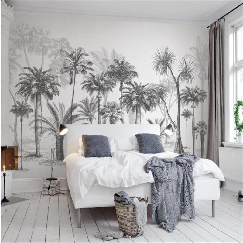 Large 3D Wallpaper Mural Custom Black and White Tropical Rainforest Coconut Tree TV sofa background wallpaper mural