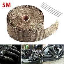 Rouleau de protection contre la chaleur   5M, protection contre la chaleur pour Moto de voiture, Turbo évacuation des tuyaux, bouclier pour collecteur, rouleau de tissu isolant