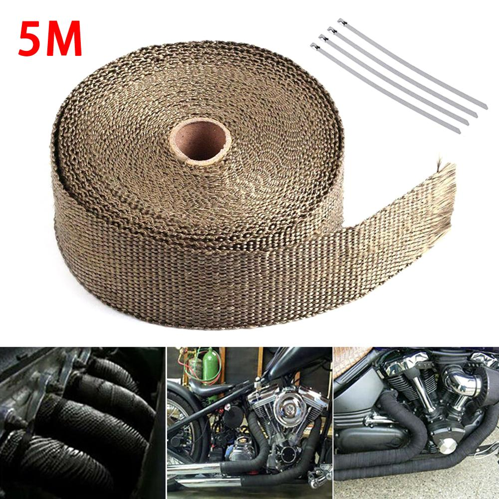 Envoltorio de protección del calor de la Moto del coche 5M de la cinta de calor del escape Turbo envoltura de tubería envoltura de los protectores del colector cabezal de aislamiento rollo de tela