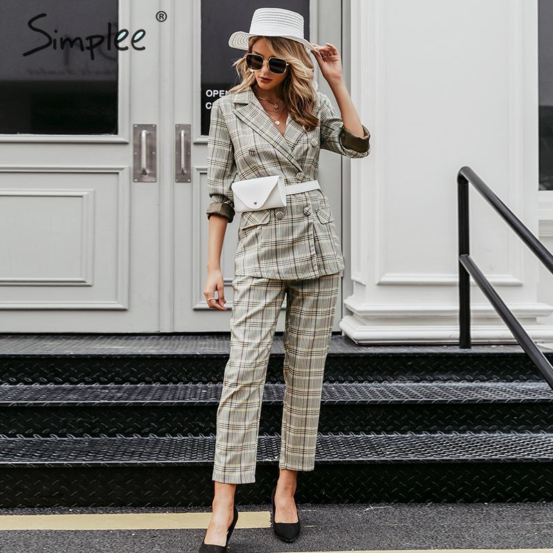 Simplee Plaid doble botonadura mujer blazer traje conjunto de manga larga Oficina trajes de pantalón para mujer Pantalones para la calle Casual traje