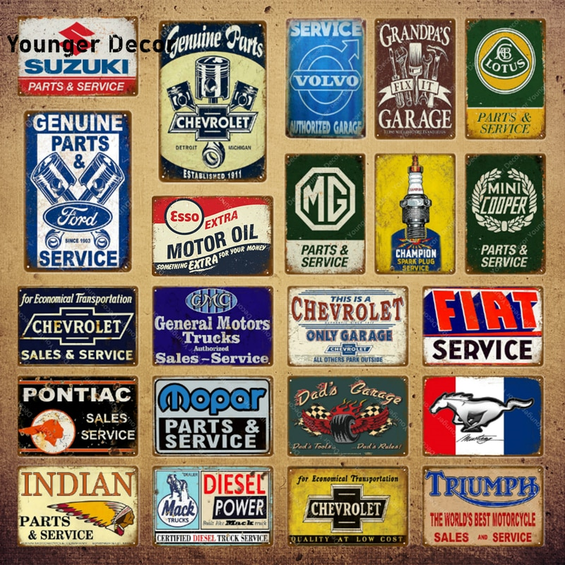 Classic Motors Trucks Cars Bus Sales Service Vintage Poster Metal Signs Decorative Wall Stickers Pub Bar Garage Decor YI-169