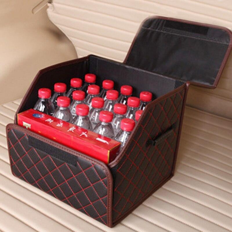 Складная автомобильная сумка для хранения 34*31*30 см из искусственной кожи, органайзер для багажника автомобиля, сумка для хранения, авто сумка для мусора