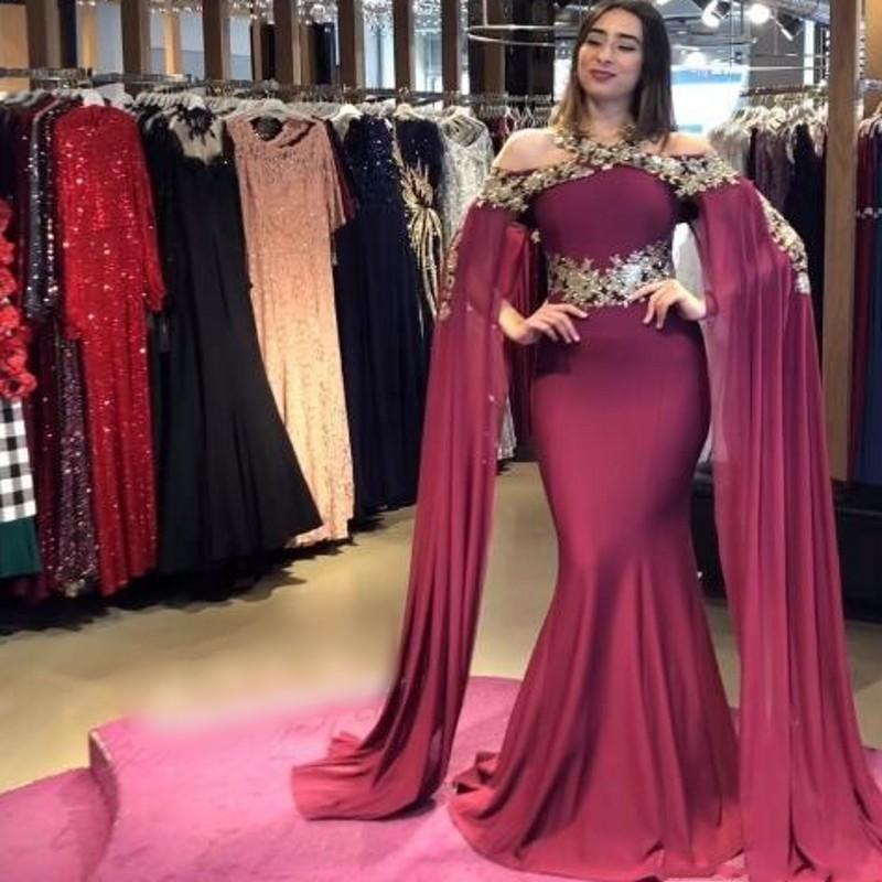 Dubai Arabic Elegant Mermaid Dresses Evening Gold Applique Flutter Sleeves Sweep Train  Prom Formal Dress Party Gowns