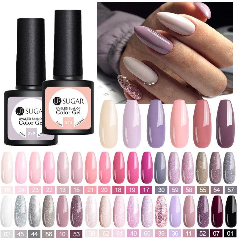 Azúcar UR desnudo púrpura Gel de uñas esmalte de uñas arte Vernish Semi permanente UV LED manicura 7,5 ml capa superior Gel pulido de uñas