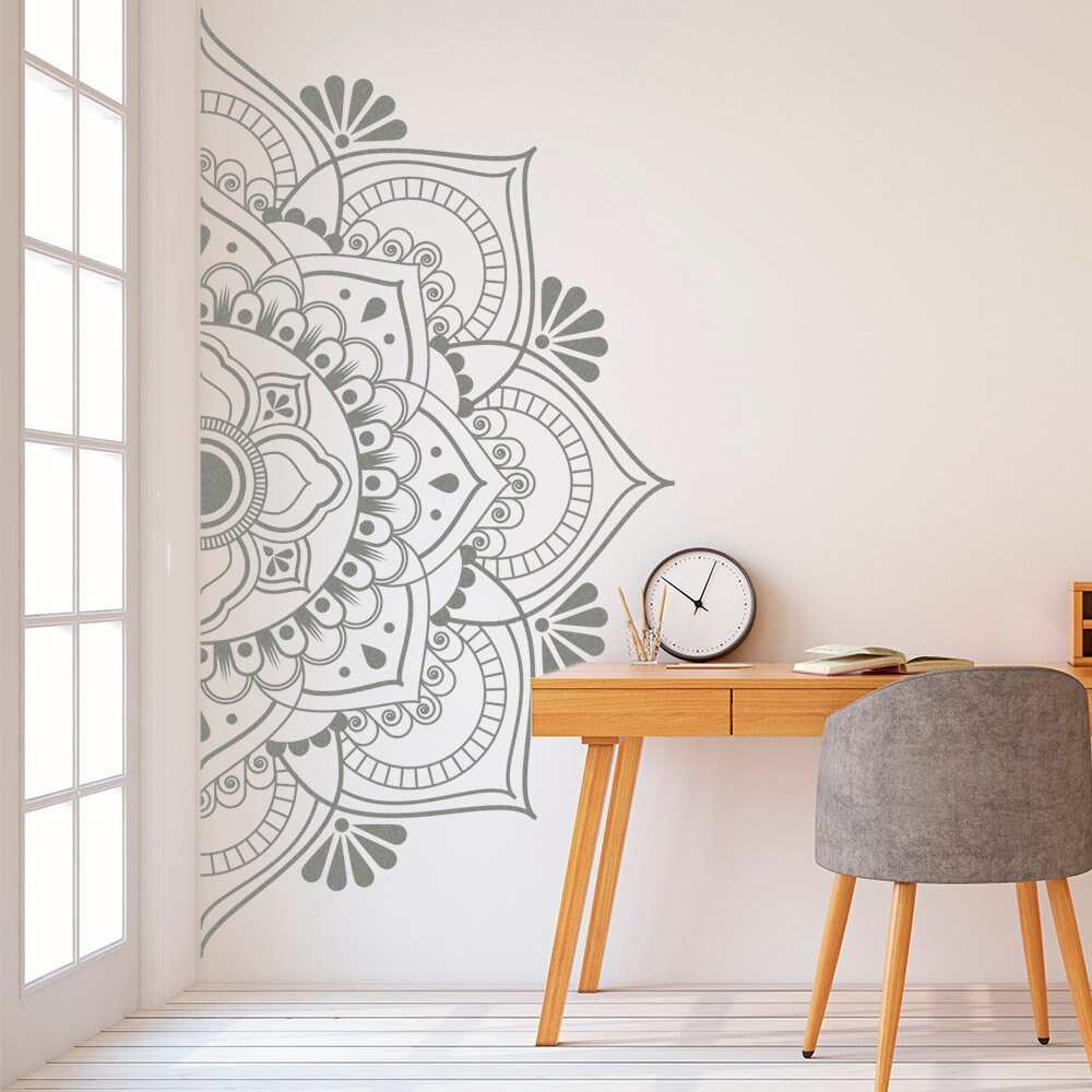 Pegatina de vinilo extraíble Mandala en media pared calcomanías Yoga Sutdio decoración meditación Yoga pared arte sala de estar pared murales AJ525