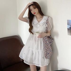 Cute Doll Collar Polarized Chiffon Shirt Skirt French Sweet Double-Layer Collar Puff Sleeve Embroided Dress Women's Summer
